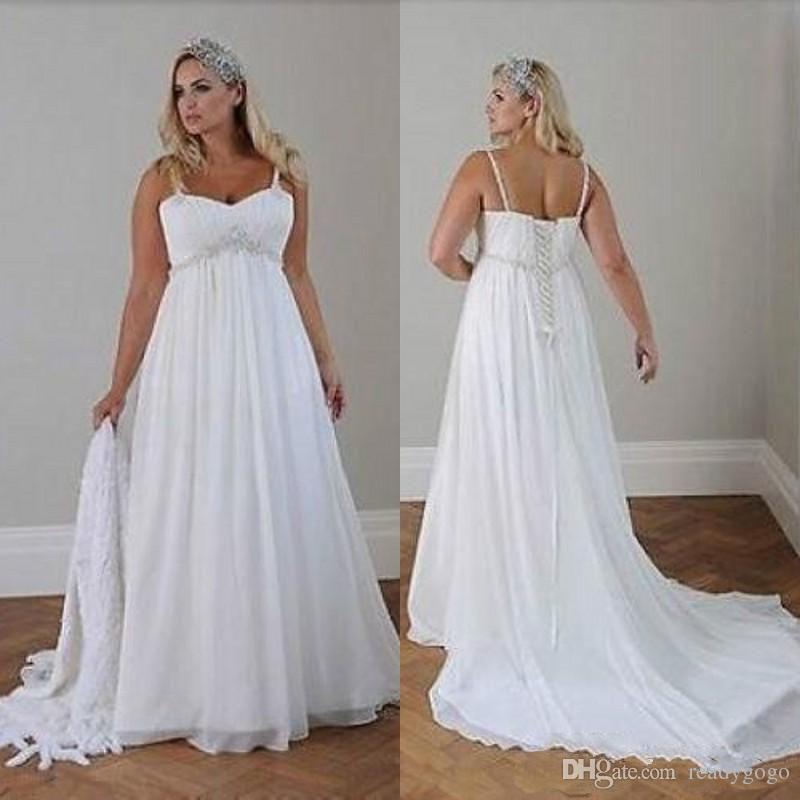 Discount Plus Size Casual Beach Wedding Dresses 2019 Spaghetti Straps Beaded Chiffon Floor Length Empire Waist Elegant Garden Country Bridal Gowns