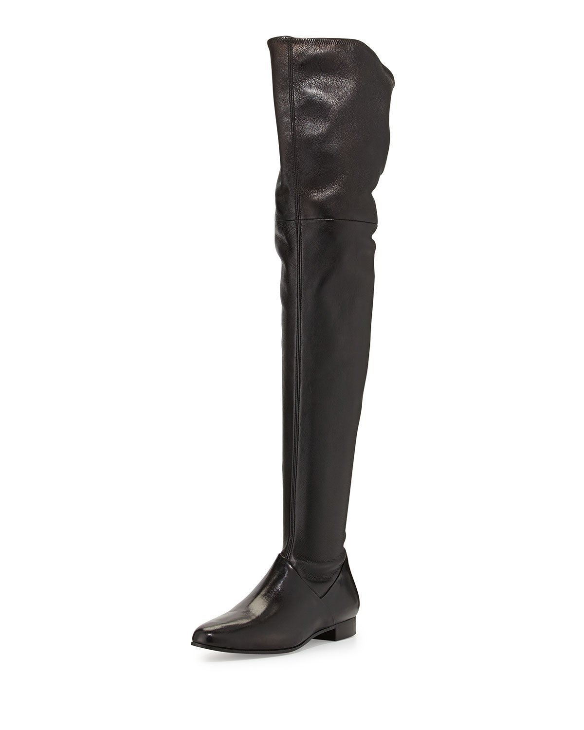 Wed2019 Gray Black Square With Flat Bottom Thigh Ma'am Winter Increase Down Circle Head Short Zipper Overknee Boots
