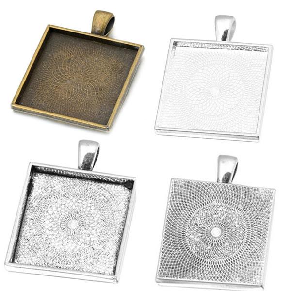 20pcs Antique Bronze 15mm Square Pendant Trays Blank Cameo Cabochon Settings