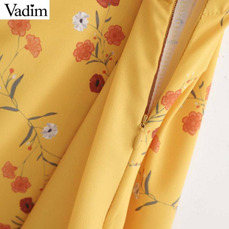 Vadim femmes sweet imprimé floral mini robe patchwork spaghetti sangle irrégulière robes décontractées jaune mignon robes QC260 T519053003