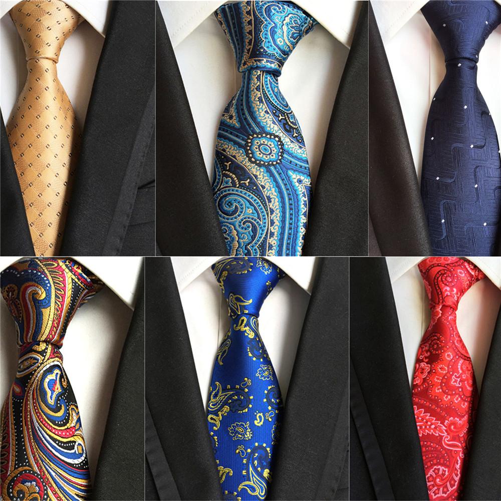 PAISLEY Striped Checks Blue Classic SIlk Tie Set Mens Necktie Hanky Cufflinks