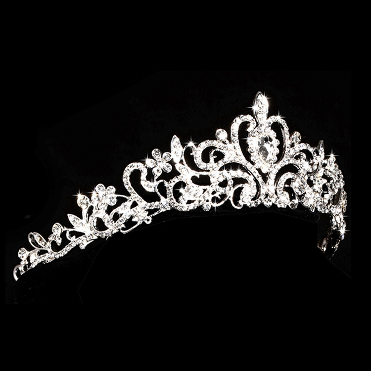 Rhinestone Jewelry Sets Necklace Pendant Tiaras Earrings For Women Pageant Wedding Crowns Bridal Hair Accessories (2)