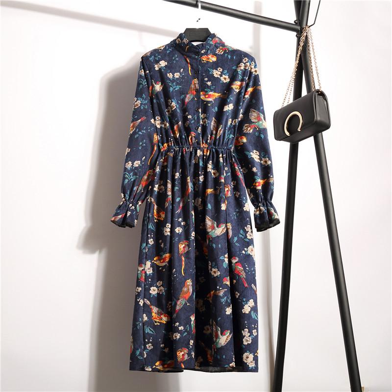 Herbst Winter Frauen Casual Cord Kleid Retro Elastische Taille Langarm Stehen Hals Gedruckt Blumenkleid vestido Dropshipping