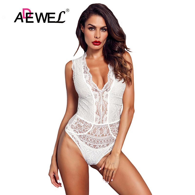 White-V-Neck-Hollow-out-Lace-Bodysuit-LC32247-1-1