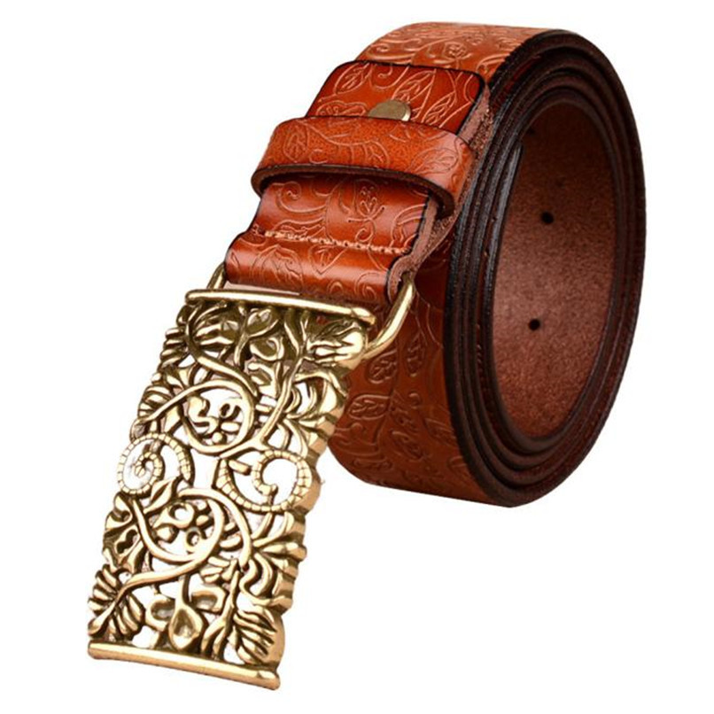 Leather Wide Belts For Women Belts Men Leather Automatic Buckle Ms Fashion Palace Retro Belt Real Leather Belt 40AG303