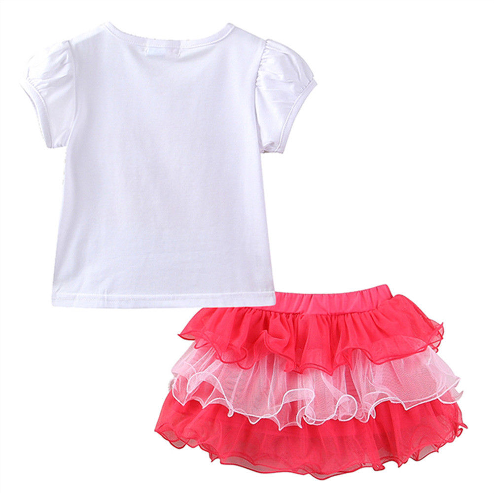 Baby Girls Birthday Party Layered Ribbon Bow Tutu Skirt Outfits Kids Girl Letter T-shirt Suits Cake set Clothes 1-6Y