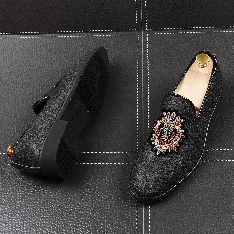 MemorableEmbroidery Foot Male Hairstyle Division Personality Fashion England Sharp Small Leather Shoes Within Increase Shoe