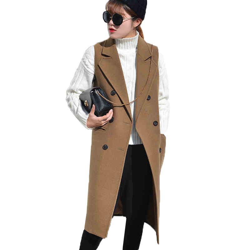 2017 Femmes Veste sans manches Mélange Laine Trench Coat Gilet Long Gilet Costumes
