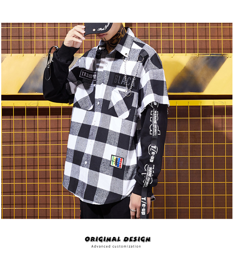 Red And Black Plaid Patchwork Shirt Men (12)