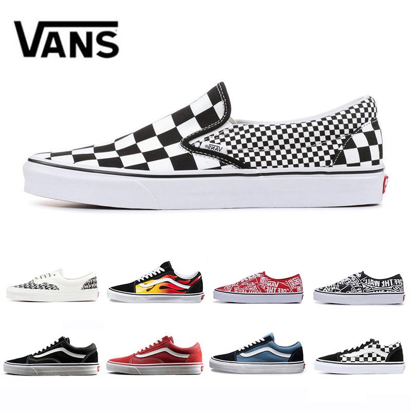 Cheap Vanssneakers Original old skool fear of god van men women canvas sneakers black YACHT CLUB red blue skate casual shoes Size 36 44
