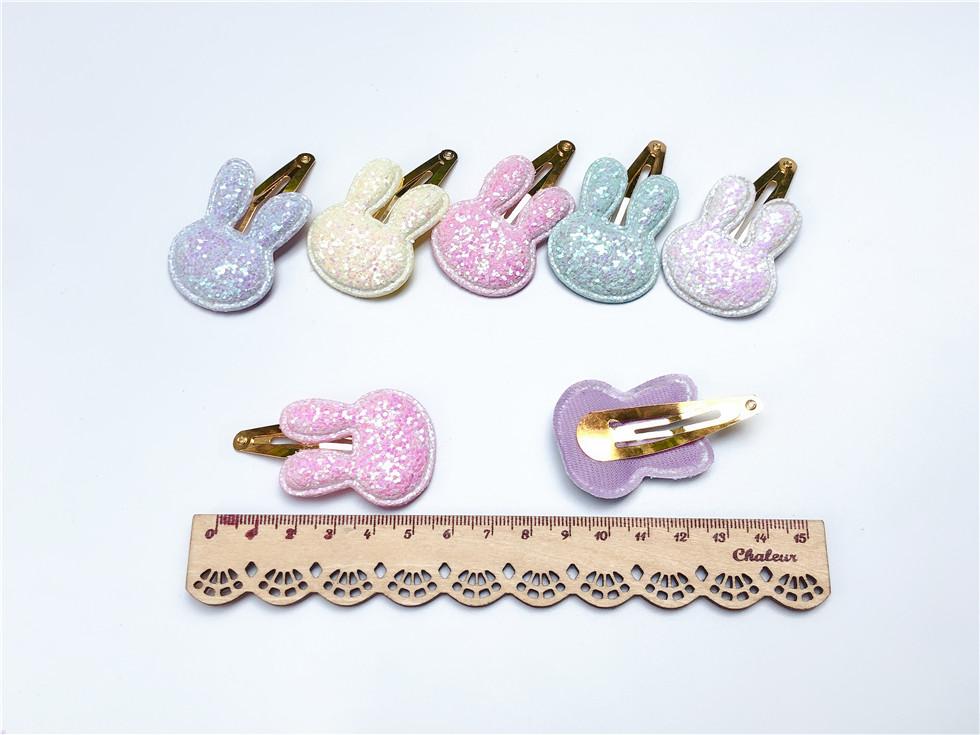 Boutique ins Fashion Cute Glitter Rabbit Hairpins Solid Bunny Barrettes Hair Clips Princess Headwear Hair Accessories
