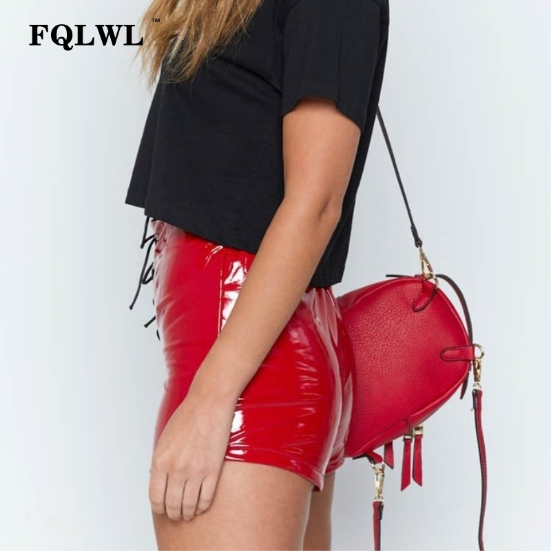 Fqlwl Faux Pu Leather Hotpants Lace Up Red Black High Waist Female Sexy Bandage Mini Women Shorts Buttoms J190629
