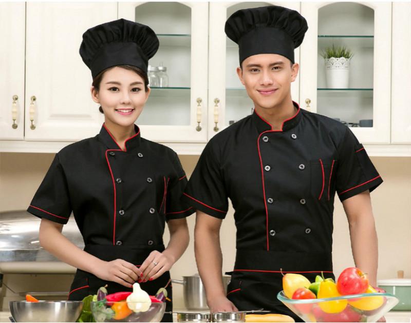 Chef Uniform Unisex Pure Color Cook Coat Loose Short Sleeve Breathable Jacket