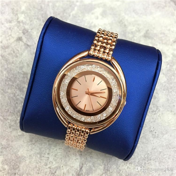 Hot sale Luxury Women watch Rose Gold Stainless steel Lady wristwatch Bracelet Dress watch Sexy Jewelry buckle Multi colors Rolling Diamonds