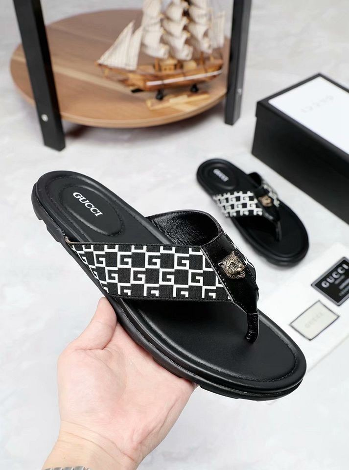 Summer new men's slippers with imported leather face stripe ribbon casual atmosphere