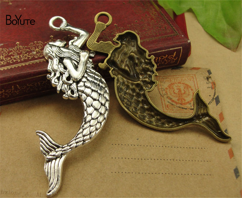 BoYuTe (30 PiecesLot) Antique Bronze Silver Mermaid Pendant Charms Diy Hand Made Jewelry Accessories (2)
