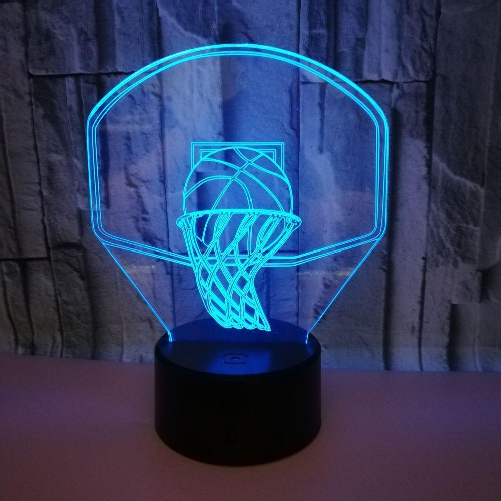 Caliente originalidad regalo Canasta de baloncesto 3d Pequeña luz nocturna 3d Led pequeña luz nocturna Usb 3d Vision Lámpara de escritorio pequeña
