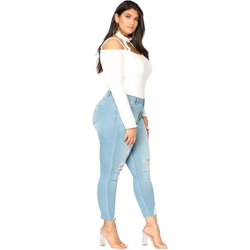 Romacci Women Plus Size Ripped Jeans 5xl 6xl 7xl Slim Denim Destroyed Hole High Waist Jeans Casual Stretch Pencil Pants Trousers J190409