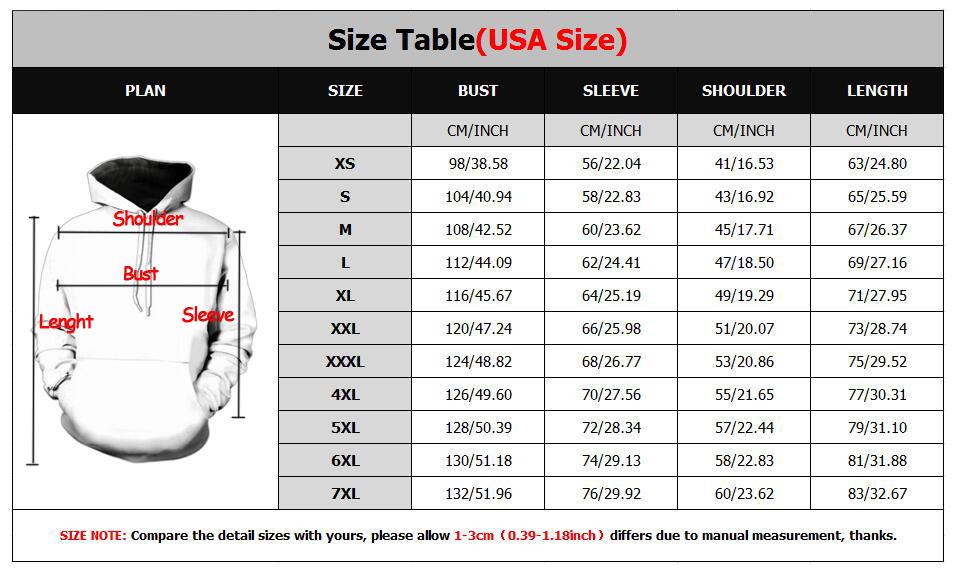 new hoodies size chart