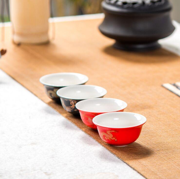Juego de tetera de cerezo blanco japon/és con mango de rat/án y 4 tazas de t/é color blanco