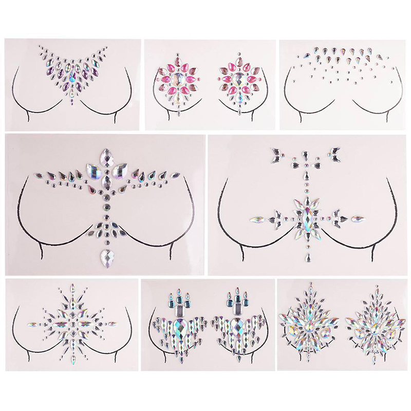 Shellhard 12 Styles Adhesive Sticky Gems Sticker Makeup Face Boob Jewel Crystal Festival Gems Party Makeup Stickers For Body Art