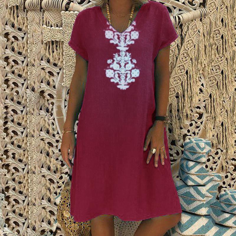 Women Dresses Knee Length Streetwear Fashion Summer Dress Women Plus Size 5XL Cotton Linen Dress Vintage Casual Vestidos Mujer 5