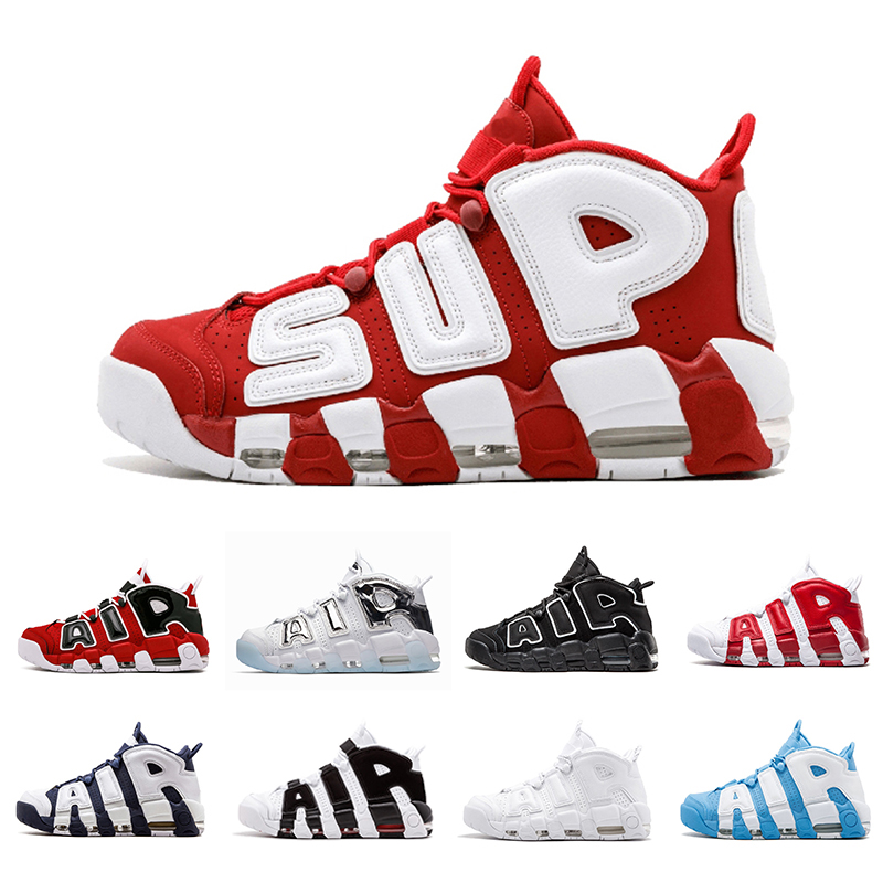 Tri Color Air more 96 QS Olympic Mens Basketball Shoes black gold SUP Airs 3M Scottie Pippen Uptempo men women Sports Sneakers 5.5 13