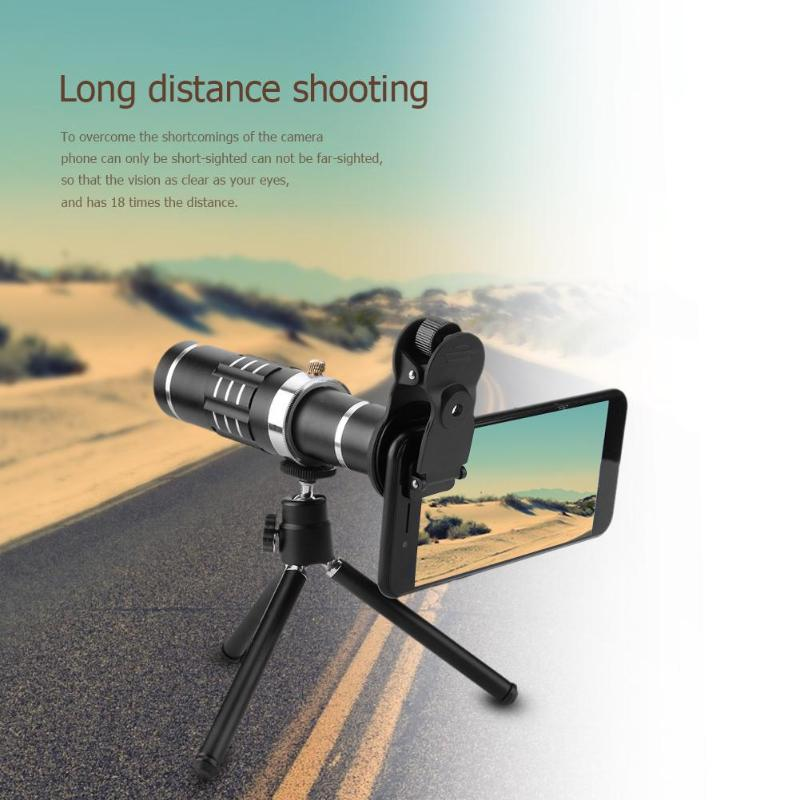 18x Zoom Optical Telescope Telephoto Lens with Tripod Clip Kit Universal Phone Camera Lens for iPhone Samsung Mobile Phone New