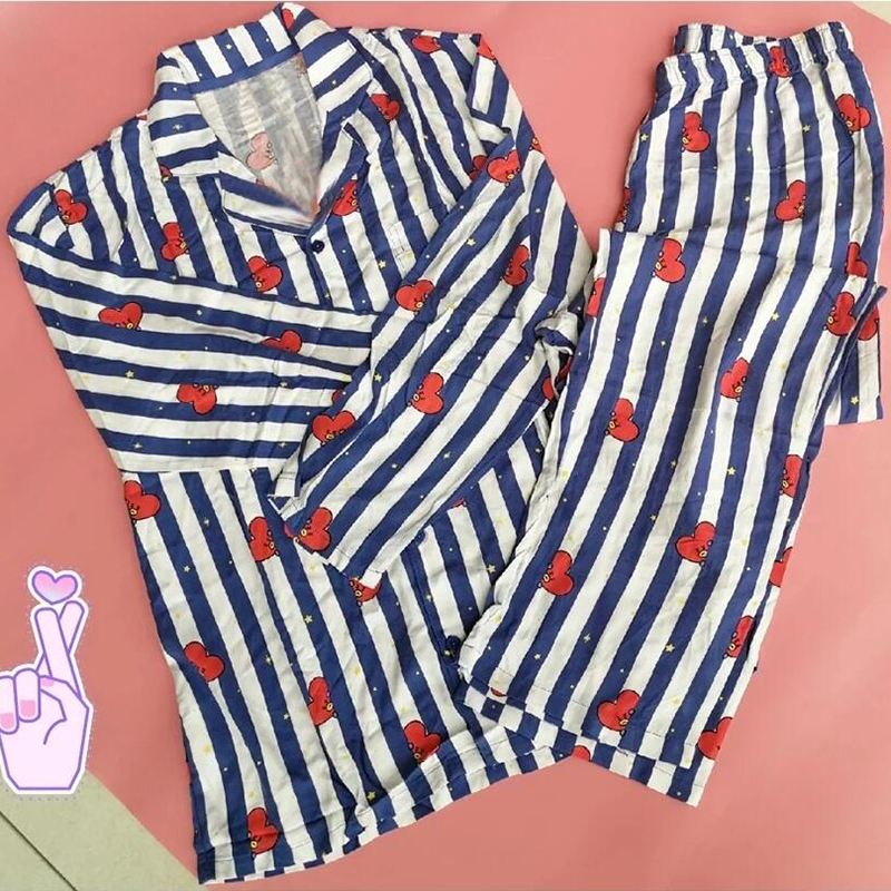 New fashiion Boys JUNG V Same Cotton Pajamas Nighty Man and Women's Sleepwear Pyjamas Set