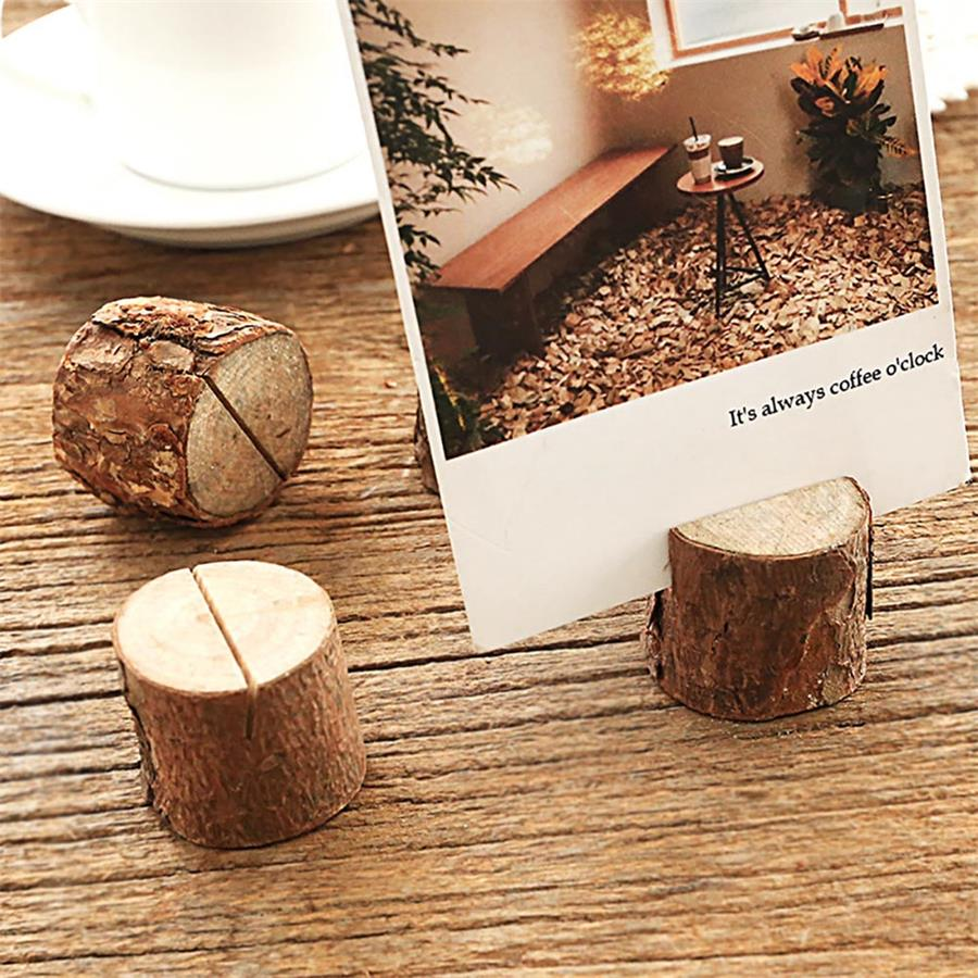 Rustique Mariage Table en Bois Nom de Lieu Card Stand Photo Clip Holder Décor US