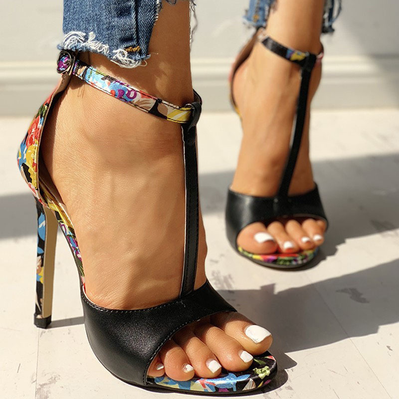 SWQZVT New thin heels women fish mouth open toe summer sexy party pumps women shoes 2020 fashion print vintage ladies sandals (8)