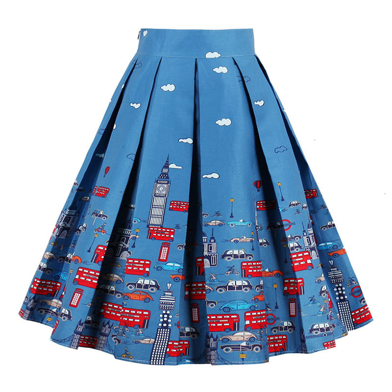 Kostlish Retro Print Flower Summer Skirts Womens High Waist Vintage Skirt Elegant A-Line Midi Women Skirt Plus Size XXL (15)