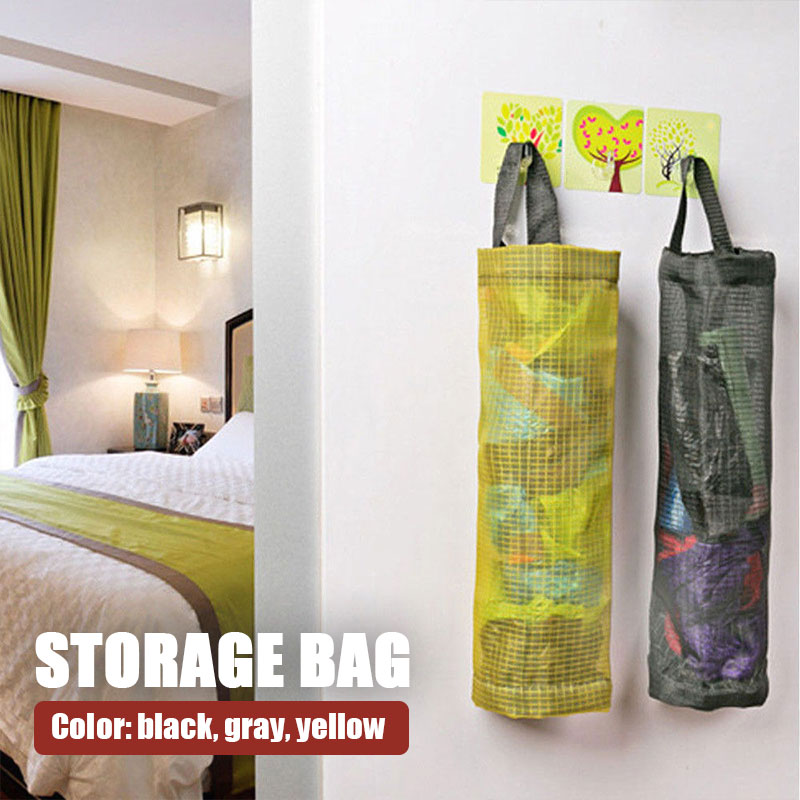 Grocery bags holder wall mount storage dispenser plastic kitchen organizer VB