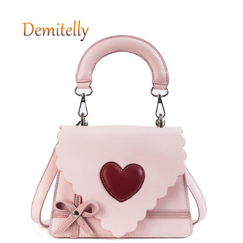 Hearts Pink Shape Tote Bag Purse Handbag For Women Girls