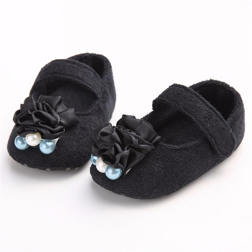 Baby Girls Shoes Fashion Newborn Infant Baby Girls Flower Pearl Soft Sole Anti-slip Princess Shoes Baby First Walker JE25#F (12)