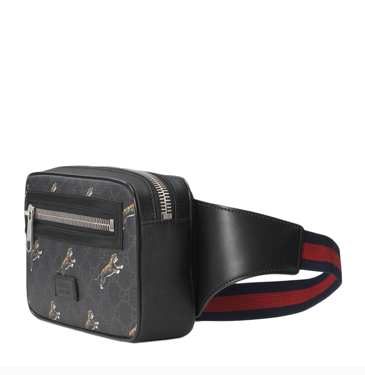 GUCCI/Gucci 19 spring and summer GG Supreme series men's other black leather canvas tiger print pockets chest bag
