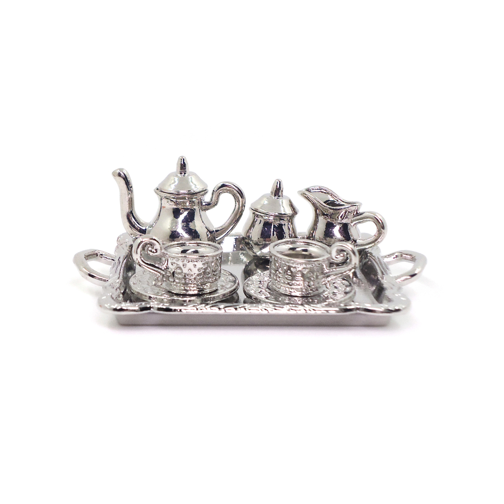 10 Pieces 1:12 Dollhouse Miniature Silver Metal Tea Coffee Set Tableware Best for doll house, room box, house model