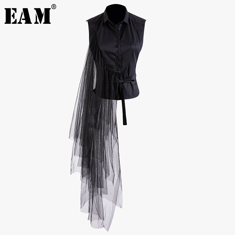 EAM] 2019 New Spring Summer Lapel Sleeveless Black Irregular Bandage Mesh Stitch Loose Shirt Women Blouse Fashion Tide JT870, Black (customize)