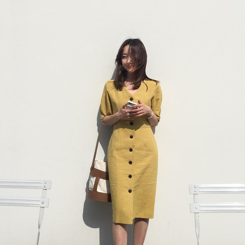 Nouvelle Robe D'été Femmes Coton Lin Ol Décontractée Demi Manches Robes Femme Robe V Cou Solide Robe Jaune Boho Robe Femme Robe MX190727