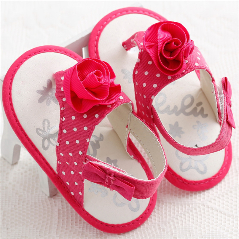 Summer Baby Girls Shoes Toddler Newborn Baby Girls Flower Dot Sandals Soft Sole Anti-slip Shoes Baby Girls Sandals M8Y16 (2)