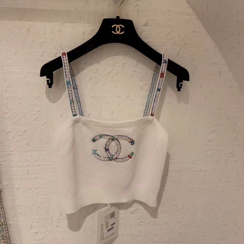 Été Femmes Sling Sling Sling Heavy Work Sangle D'épaule Avant Poitrine Broderie De Mode Extérieur Porter mince Camisole