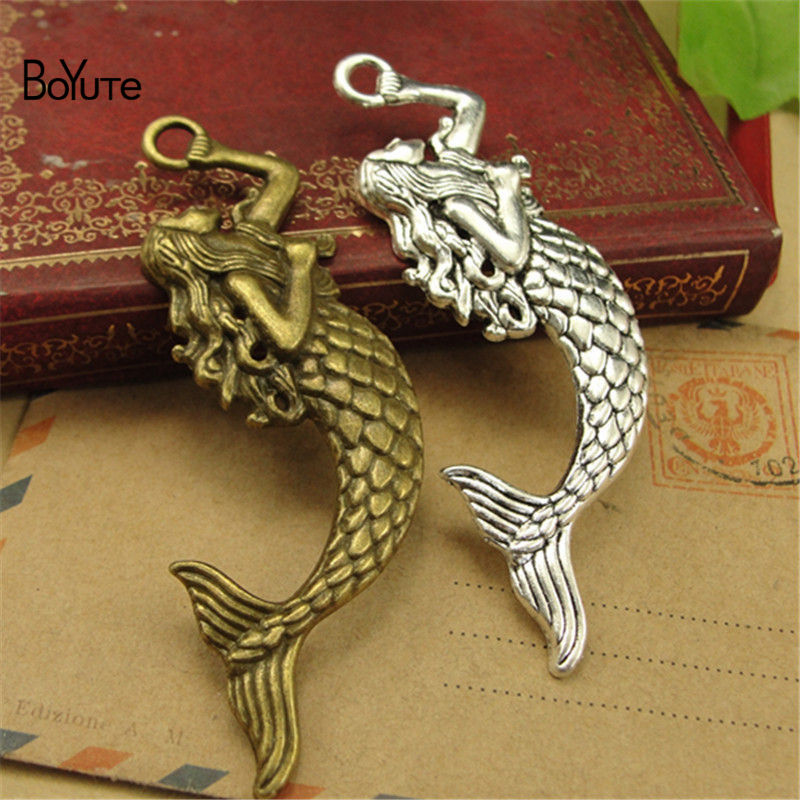 BoYuTe (30 PiecesLot) Antique Bronze Silver Mermaid Pendant Charms Diy Hand Made Jewelry Accessories (3)
