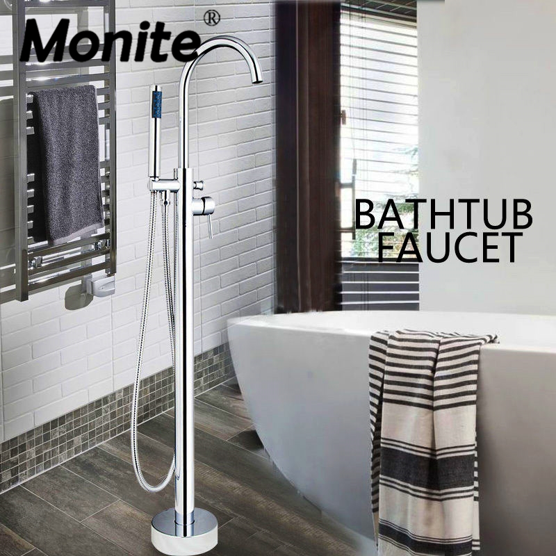 Chrome Polish Bathroom Shower Set Faucet Hand Shower Floor Mounted Free standing Bathtub Faucet Mixer Tap Hand Shower