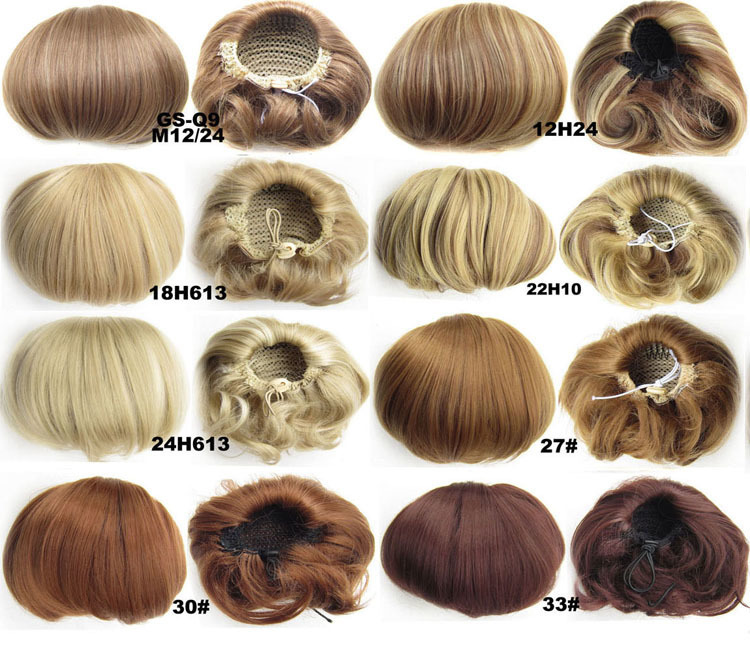 2019 Bollo de pelo sintético Clip de moño rizado en peluquería Extensiones de cabello Pieza de cabello falso Accesorio Ombre Blonde Marrón