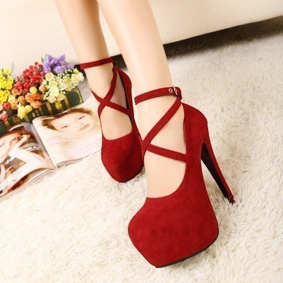 Fairy2019 Autumn Women's Circle Head Fine With Single Shoe Woman Will One Buckle Bring Nightclub High-heeled Shoes