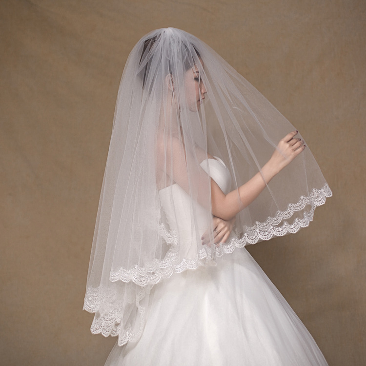 Marry 1 Rice Double-deck Lace Iron Hair Comb Waist Can Masked Bride Wedding Head Yarn 1001 C19031801