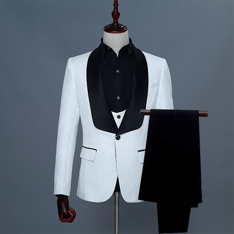 Shawl Lapel Man Suit Groom Wedding Men's Blazer Groomsmen Suits With Jacket Vest Pants Tie Red Pink White