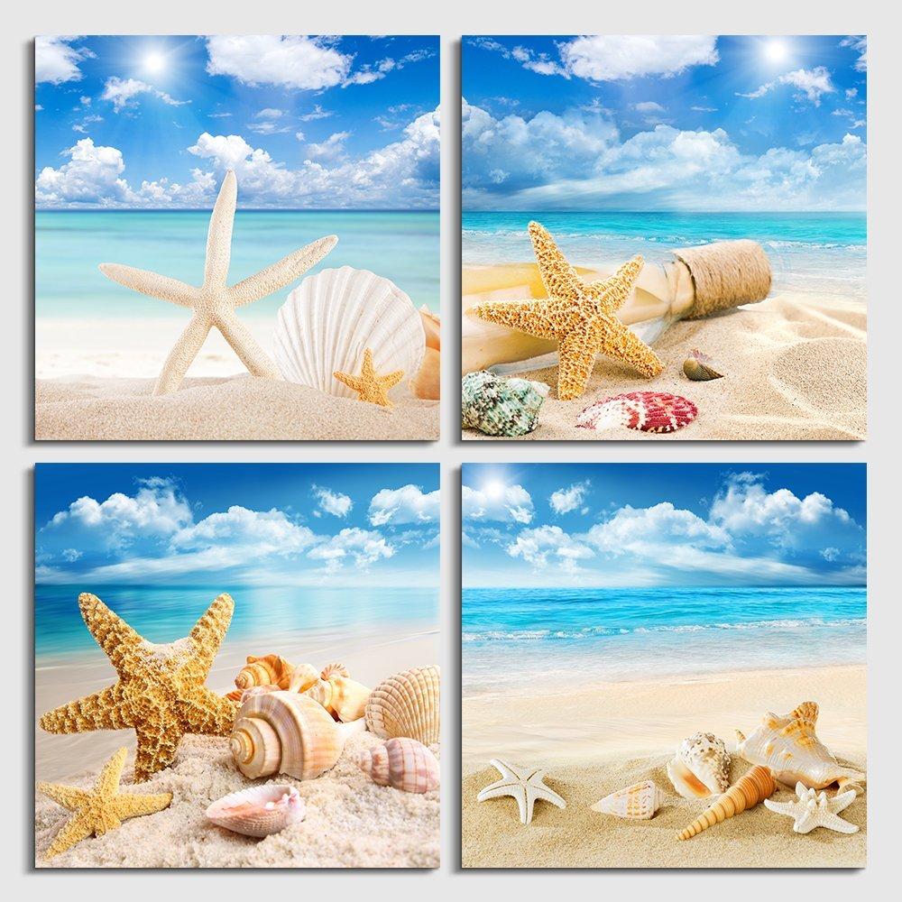 1 Line Art Náutica Playa Pared Arte Impresiones Sin Enmarcar Shell