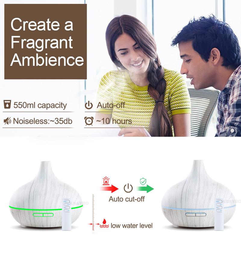 KBAYBO 550ml à ultrasons électrique humidificateur d'air Huile Aroma Diffuseur blanc Veine du bois à distance de contrôle 7 couleurs lumières LED pour la maison
