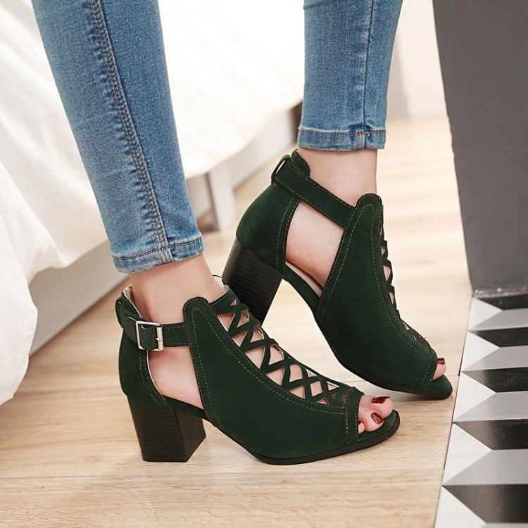 Glittery2019 Popular2019 Coarse Woman Sandals High With Women's Shoes England Hollow Out Rome Shoe Will Code 40-43 What